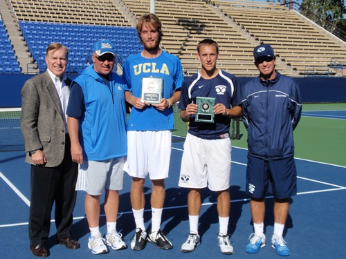 SCTA President Greg Hickey with UCLA Coach Billy Martin, Champion Clay Thompson, Finalist Patrick Kawka and BYU Coach Brad Pearce